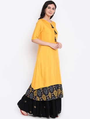 Layered kurta with palazzo set - 15186824 - Standard Image - 2