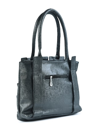 black leatherette  regular handbag - 15187185 - Standard Image - 2