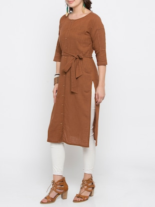 brown cotton straight solid kurta - 15187234 - Standard Image - 2