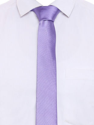 purple satin tie - 15190410 - Standard Image - 5
