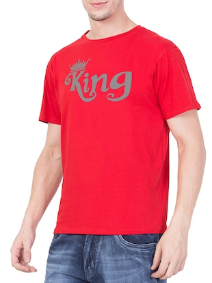 red cotton chest print t-shirt - 15194140 - Standard Image - 2