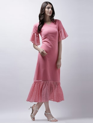 a5d8a897f3e1 Buy Pink Solid A-line Dress for Women from Athena for ₹1255 at 37% off