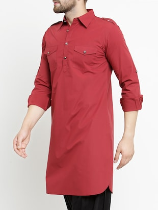 red cotton pathani kurta - 15204749 - Standard Image - 2