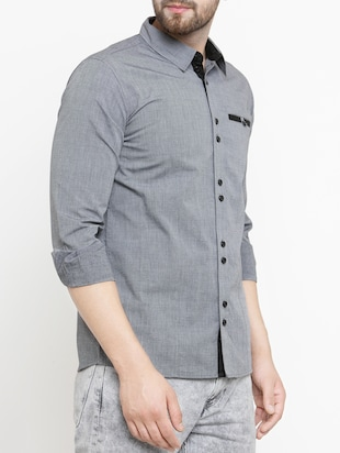 grey cotton casual shirt - 15206158 - Standard Image - 2