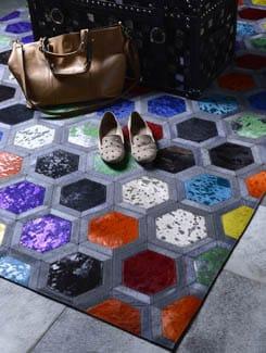 Grey Carpet With Multicolor Hexagon Pattern - Lthr