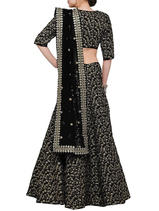 black sequined flared lehenga - 15212743 - Standard Image - 2