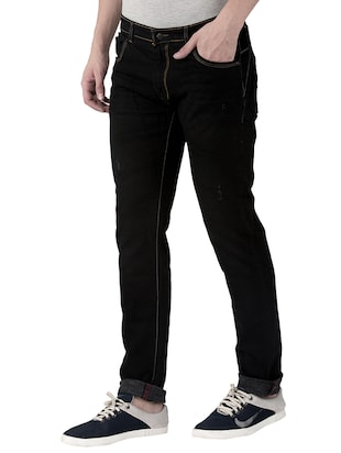 black cotton plain jeans - 15214715 - Standard Image - 2