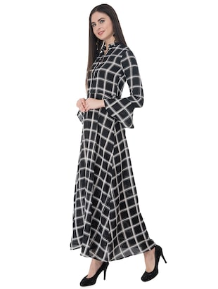 black checkered maxi dress - 15214717 - Standard Image - 2
