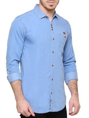 blue denim casual shirt - 15217363 - Standard Image - 2