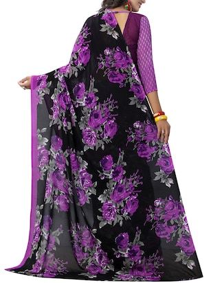 purple georgette printed saree with blouse - 15218955 - Standard Image - 2