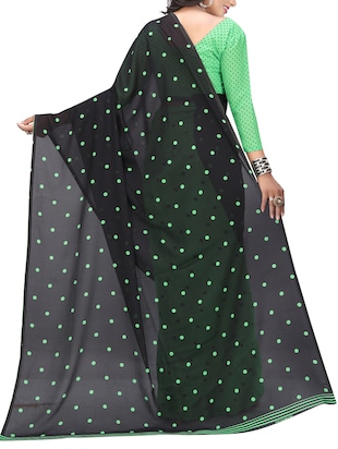 green georgette printed saree with blouse - 15218960 - Standard Image - 2