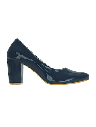 navy leatherette slip on pumps - 15221024 - Standard Image - 2