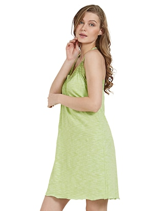 green cotton nighty - 15230814 - Standard Image - 2