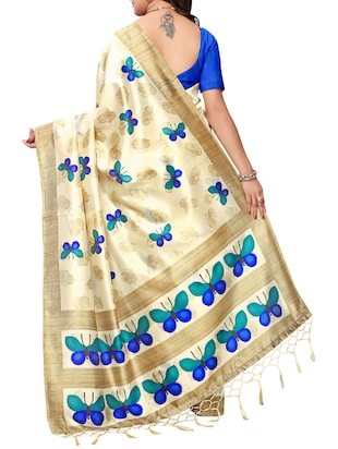 beige art silk maheshwari saree with blouse - 15235881 - Standard Image - 2