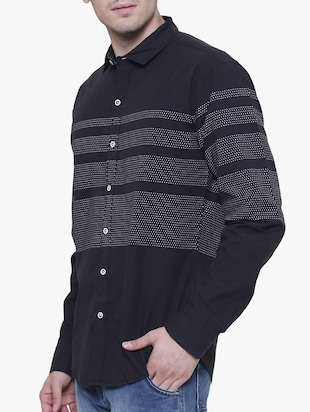 black cotton casual shirt - 15238936 - Standard Image - 2