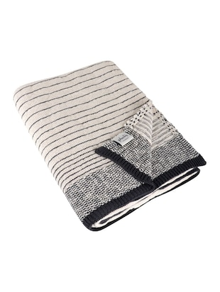 Stripped Knitted Throw - 15243477 - Standard Image - 2