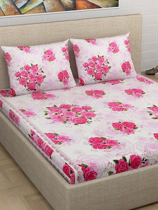 Buy Pink Cotton Double Bedsheet Set By Homefab India   Online Shopping For Bed  Sheet Sets In India | 1228686