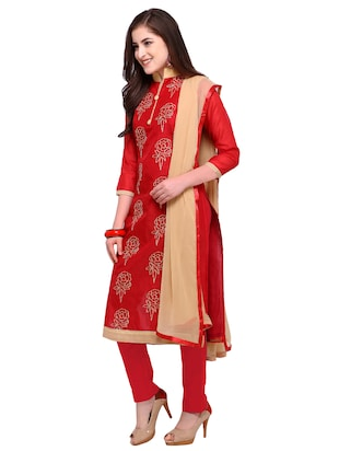 Red embroidered unstitched churidaar suit - 15263537 - Standard Image - 2