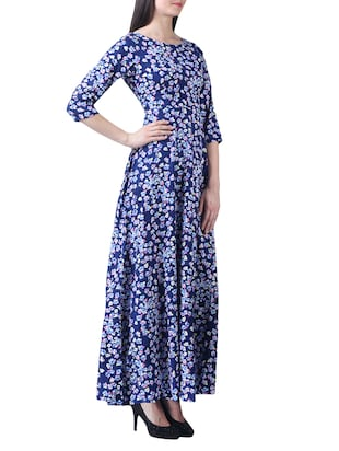 navy blue crepe floral maxi dress - 15264405 - Standard Image - 2