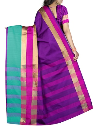 purple cotton bordered saree with blouse - 15264691 - Standard Image - 2