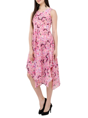 Round Neck Floral asymmetric dress - 15273730 - Standard Image - 2
