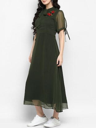 green embroidered a-line dress - 15277621 - Standard Image - 2