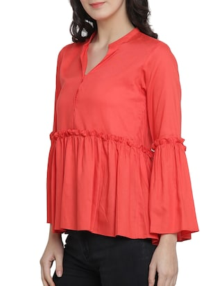 bell sleeved frill trim detail top - 15301134 - Standard Image - 2