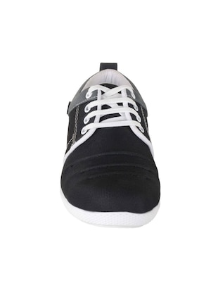 black Canvas lace up sneaker - 15301594 - Standard Image - 2