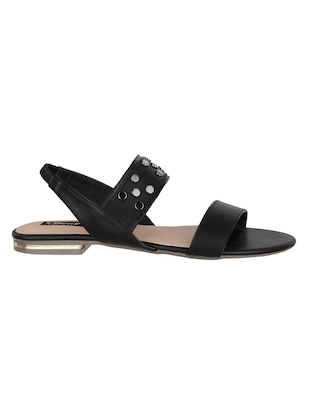 1533a93eb2a8 black faux leather back strap sandals - 15308148 - Standard Image - 2 ...