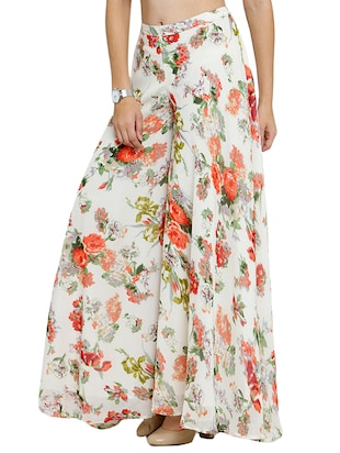 Floral printed flared palazzo - 15308758 - Standard Image - 2