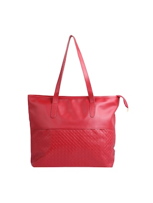 red leatherette (pu) regular tote - 15311110 - Standard Image - 2