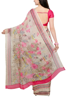 floral chiffon printed saree with blouse - 15313878 - Standard Image - 2