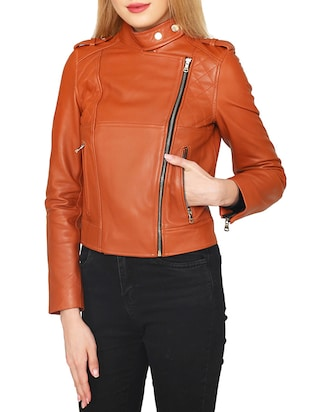 brown leatherette jacket - 15318014 - Standard Image - 2