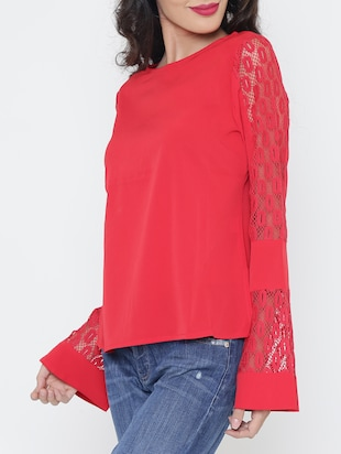 Lace panel bell sleeved top - 15321580 - Standard Image - 2