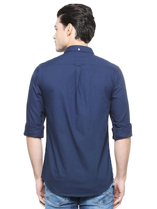 navy blue cotton casual shirt - 15327261 - Standard Image - 2