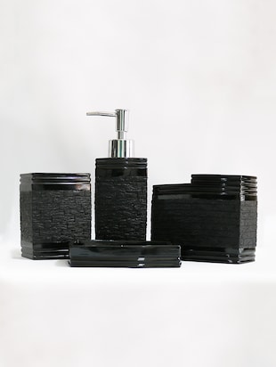 Black Polyresin Bath Set collection of liquid Soap Dispenser, Toothbrush Holder, Tumbler and Soap Dish - 15327395 - Standard Image - 2