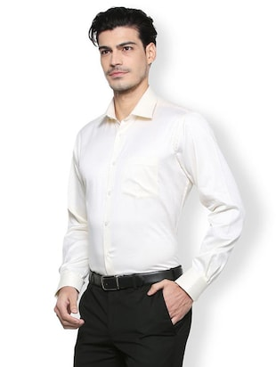 white cotton formal shirt - 15327502 - Standard Image - 2