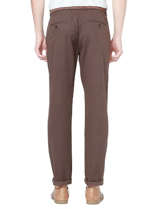 brown cotton chinos - 15328003 - Standard Image - 2