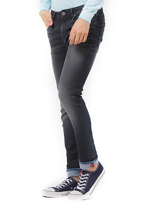 grey cotton washed jeans - 15328564 - Standard Image - 2