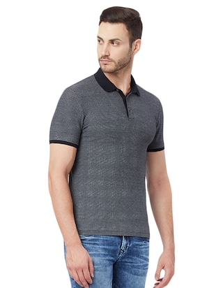 solid black polo t-shirt - 15328606 - Standard Image - 2