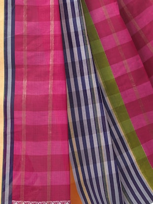 Stripe woven saree with blouse - 15337149 - Standard Image - 2