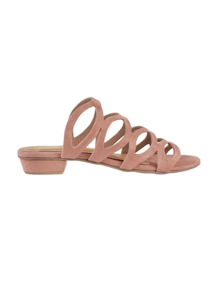 pink faux leather slip on sandals - 15339461 - Standard Image - 2