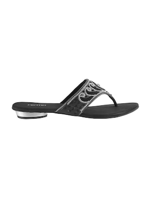 black faux leather toe separator sandals - 15339533 - Standard Image - 2