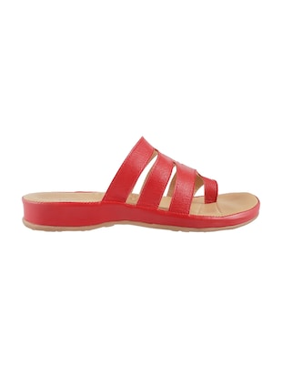 red faux leather toe separator sandals - 15339547 - Standard Image - 2