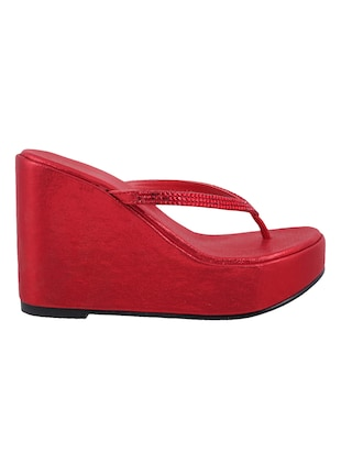 red leatherette toe separator wedges - 15339878 - Standard Image - 2