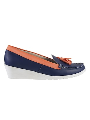 navy slip on wedges - 15340047 - Standard Image - 2