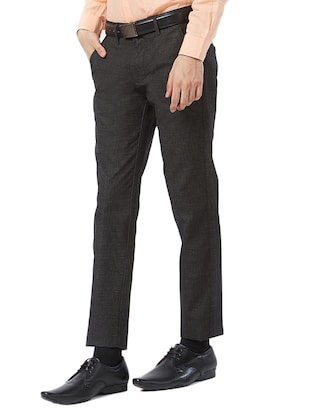 brown cotton flat front formal trouser - 15340104 - Standard Image - 2