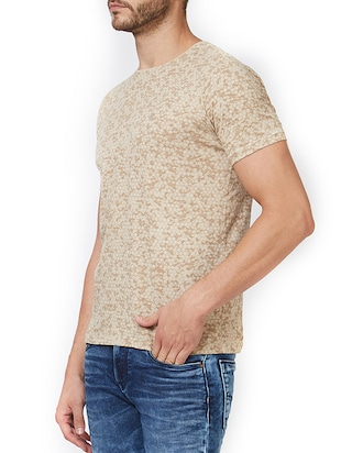 beige cotton all over print t-shirt - 15340177 - Standard Image - 2