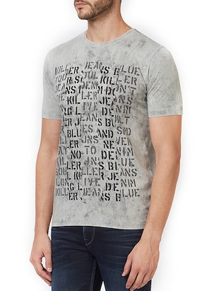 grey cotton front print  t-shirt - 15340196 - Standard Image - 2