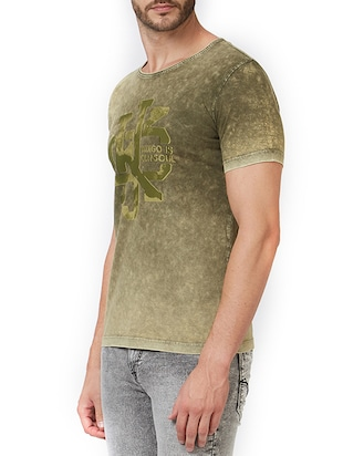 green cotton chest print t-shirt - 15340200 - Standard Image - 2